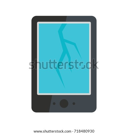 broken smart phone icon flat