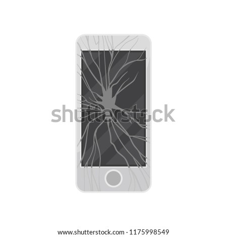 Broken smartphone, damaged electronic device vector Illustration on a white background