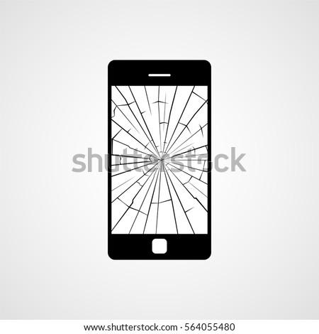 Broken smartphone screen. Vector icon