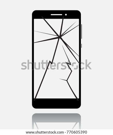 broken smartphone with cracked