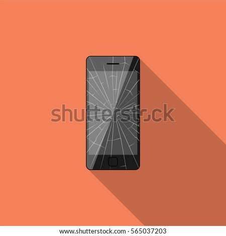 Broken smartphone with long shadow. Flat design style. Vector