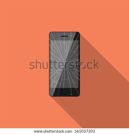 Broken smartphone with long shadow. Flat design style. Vector