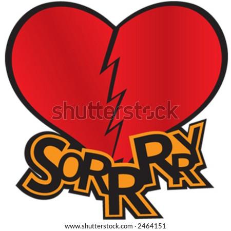 broken, sorry, love - stock vector