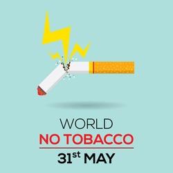 Broken tobacco or cigarette quit smoking concept. Thunderbolt to tobacco. World no tobacco day flat design illustration vector.