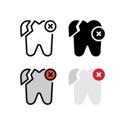 Broken Tooth Dental Icon, Logo, and illustration Vector