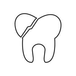broken tooth icon element of dentistry icon for mobile concept and web apps. Thin line broken tooth icon can be used for web and mobile. Premium icon on white background