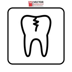 Broken Tooth icon symbol. Medical icon vector concept. Eps10 vector illustration.
