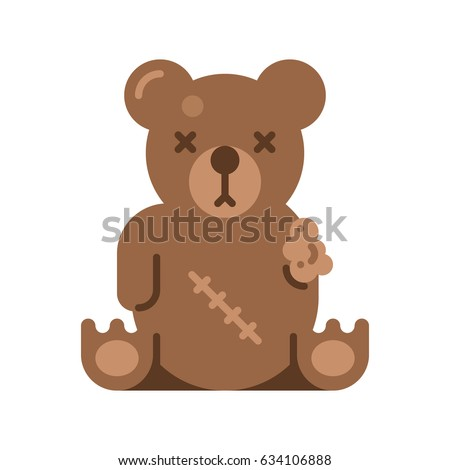 broken toy bear vector flat
