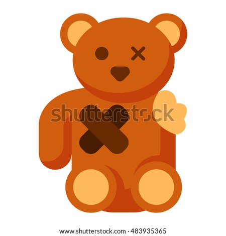 broken toy bear vector