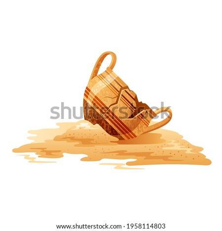 Broken Vase. Ancient jar vector. Old greek pot. Cartoon clay pottery icon. Ancient jug excavations. Museum earthenware ceramic. Urn or vase isolated. Cracked greek pitcher.  Artifact vector Foto d'archivio ©