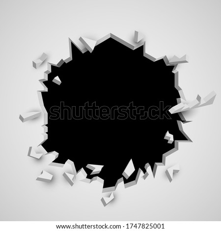 Broken wall. Cracked hole with space for text. Vector illustration Foto d'archivio ©