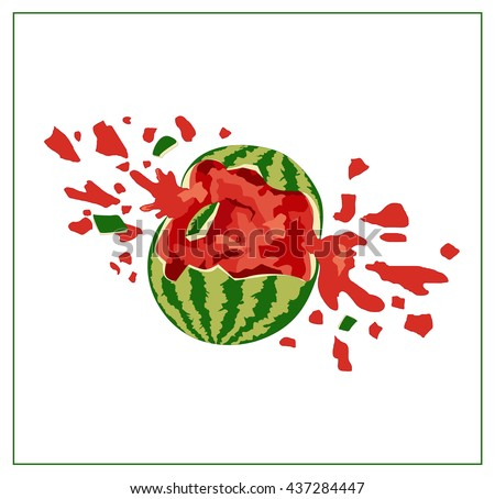 broken watermelon on white