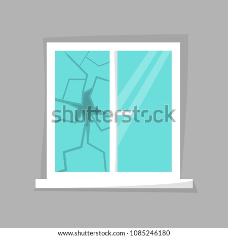 Broken window icon isolated. Cartoon damaged window. Beaten windowpane concept. Eps 10