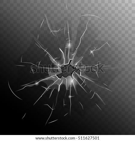 broken window pane with hole