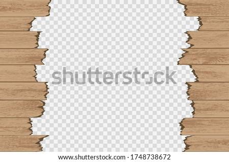 broken wood panels isolated on