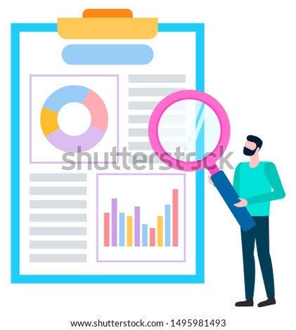 Broker agent analyzing sales of goods. Person near board with charts and graphs, statistical data. Worker with magnifier investigating information. Vector illustration in flat cartoon style
