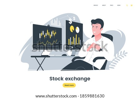Broker watching the charts on the computer monitor. Stock trader. Male investor at work. Cryptocurrencies business. Stock trading on the exchange vector illustration.