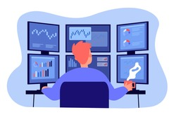 Broker working on stock market at workplace. Trader analyzing financial charts on multiple computer monitors. Vector illustration trading office, finance, analysis, investor job concept