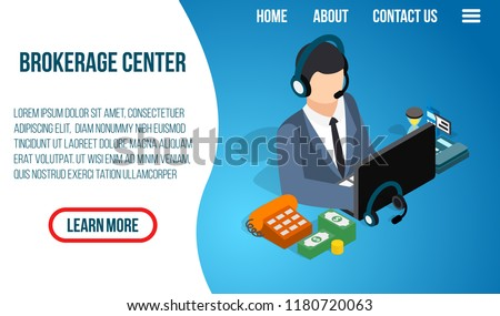 Brokerage center concept banner. Isometric banner of brokerage center vector concept for web, giftcard and postcard