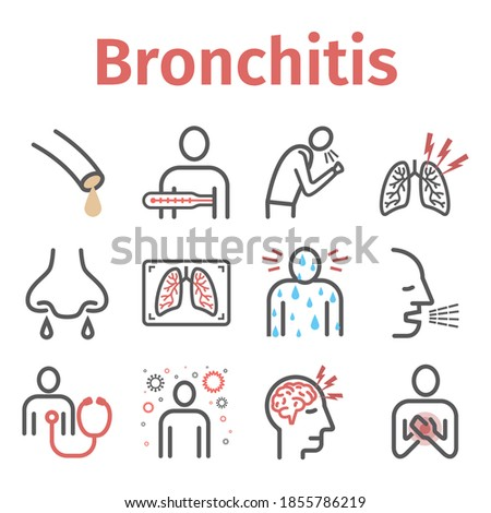 Bronchitis line icons. infographic symbol. Vector sign for web graphic. Foto stock ©