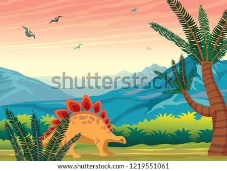 Brontosaurus and green fern. Prehistoric landscape with silhouette of dinosaurs ,blue mountains and sunset sky. Vector nature illustration of extinct animals.