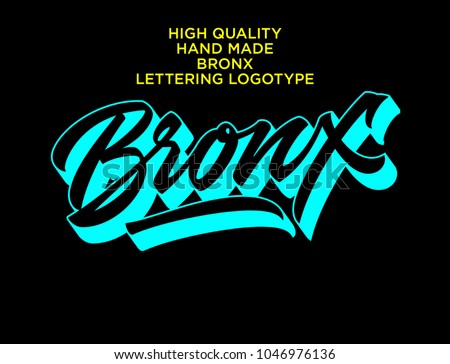 Bronx hand made calligraphic lettering logo in dynamic neon style. Typographic design work for t-shirts, greetings, advertising. New York city theme in original self-made style with eye-catching color