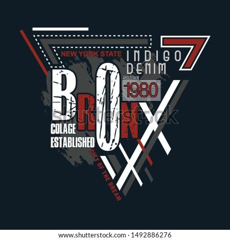 bronx typographic t shirt design graphic, vector illustration artistic urban art