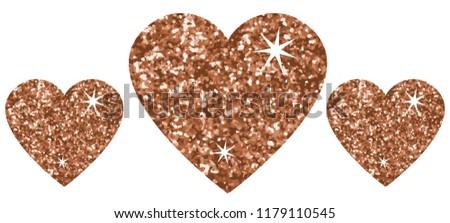 Bronze glitter hearts. Stars shinny. #1179110545