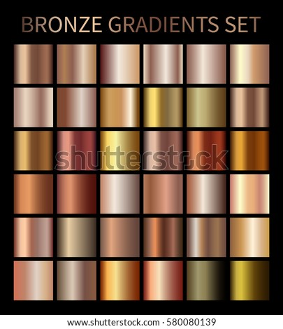 Bronze gold gradients. Collection of beige gradient illustrations for backgrounds, cover, frame, ribbon, banner, coin, label, flyer, card, poster etc. Vector template EPS10