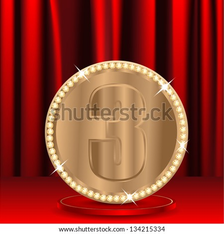 bronze medal with a number three on a background red window shades - stock vector