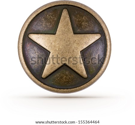bronze star symbol on isolated
