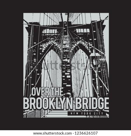 Brooklyn bridge illustration, typography, tee shirt graphics, vectors