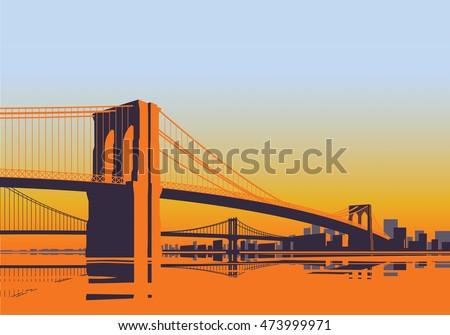 brooklyn bridge panorama in the
