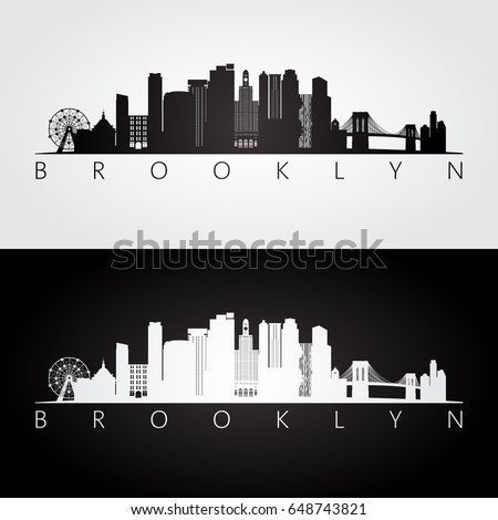 Brooklyn, New York city, USA skyline and landmarks silhouette, black and white design, vector illustration.