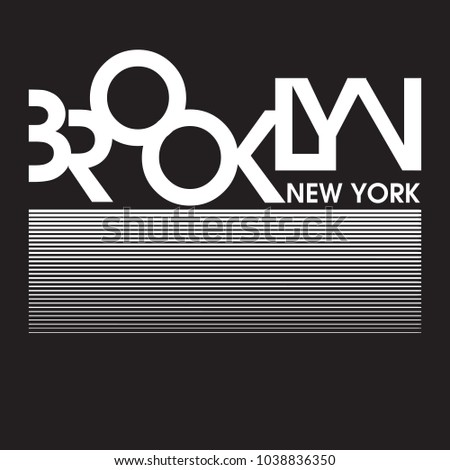 Brooklyn New York Typography Design for tee shirt and apparel Vector graphic