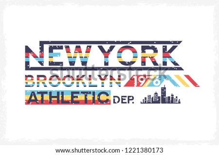 Brooklyn, NYC urban, other emblem with skyline. Typography, 80s patch, 90s fashion slogan with sun. Trend music college minimal t shirt. Apparel graphic with text New York City. Vector illustration.