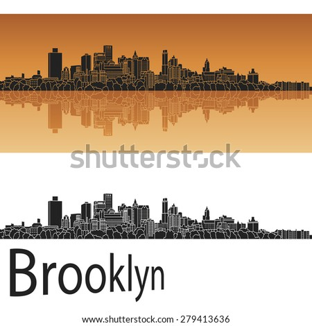 Brooklyn skyline in orange background in editable vector file