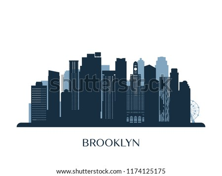 Brooklyn skyline, monochrome silhouette. Vector illustration.