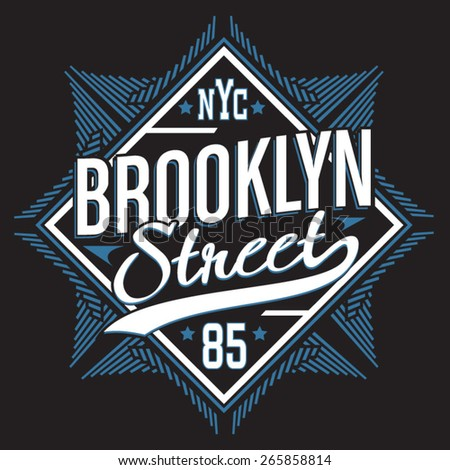 Brooklyn street typography, t-shirt graphics, vectors, sport