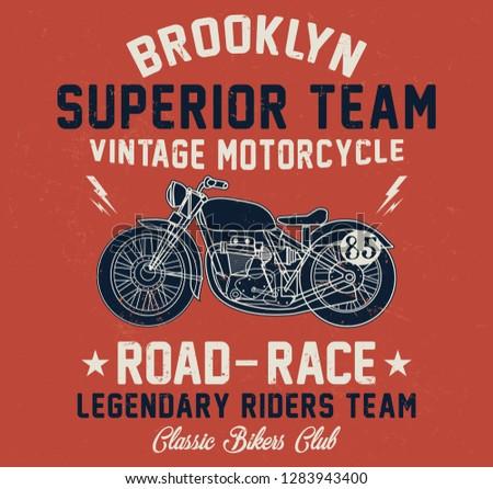 Brooklyn vintage motorcycle, superior team, classic bikers club typography, t-shirt graphics, vectors