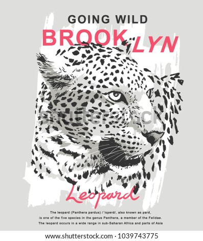 Shutterstock Brookyn slogan with leopard vector illustration