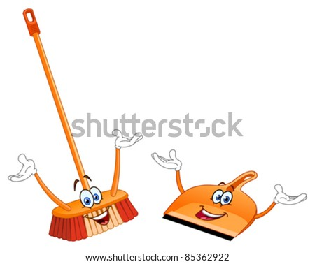 Broom and dustpan cartoon - stock vector
