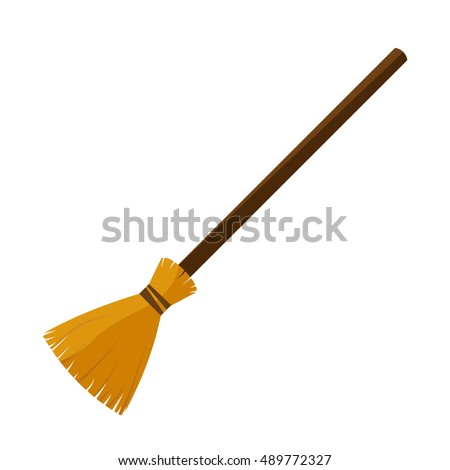 broom made from twigs on a long wooden handle. vector illustration. tool for cleaning isolated on white background. Witches broom stick. Halloween accessory object  ストックフォト ©
