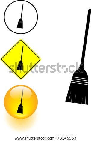 broom symbol sign and button