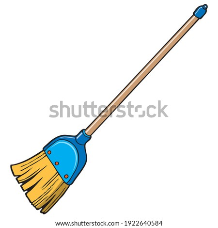 Broom vector illustration, isolated on white background.top view ストックフォト ©