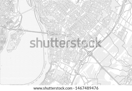 Brossard, Quebec, Canada, bright outlined vector map with bigger and minor roads and steets created for infographic backgrounds.