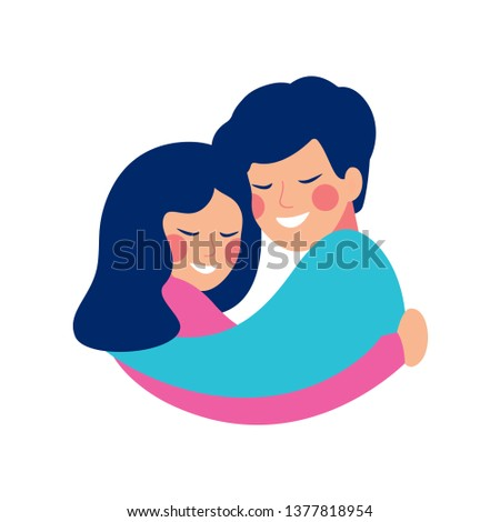 Brother and sister embrace with love and smile at each other. Happy siblings Day vector greeting card. Foto d'archivio ©