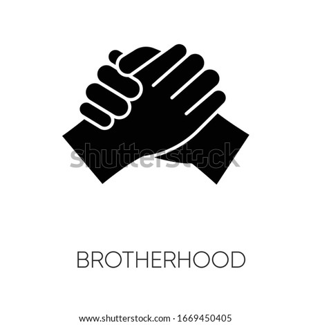 Brotherhood black glyph icon. Strong friendship, interpersonal bond, Togetherness, unity and fellowship silhouette symbol on white space. Manly handshake vector isolated illustration Foto d'archivio ©