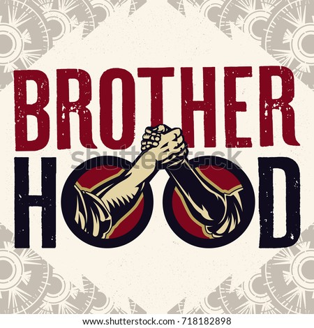 Brotherhood Sign Of Arm-wrestling Handshake Logo. Vintage propaganda poster and elements. Isolated artwork object. Suitable for and any print media need. Сток-фото ©