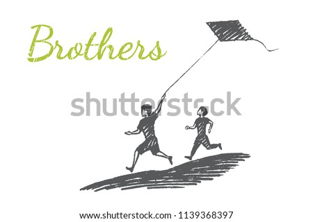 brothers concept sketch  vector